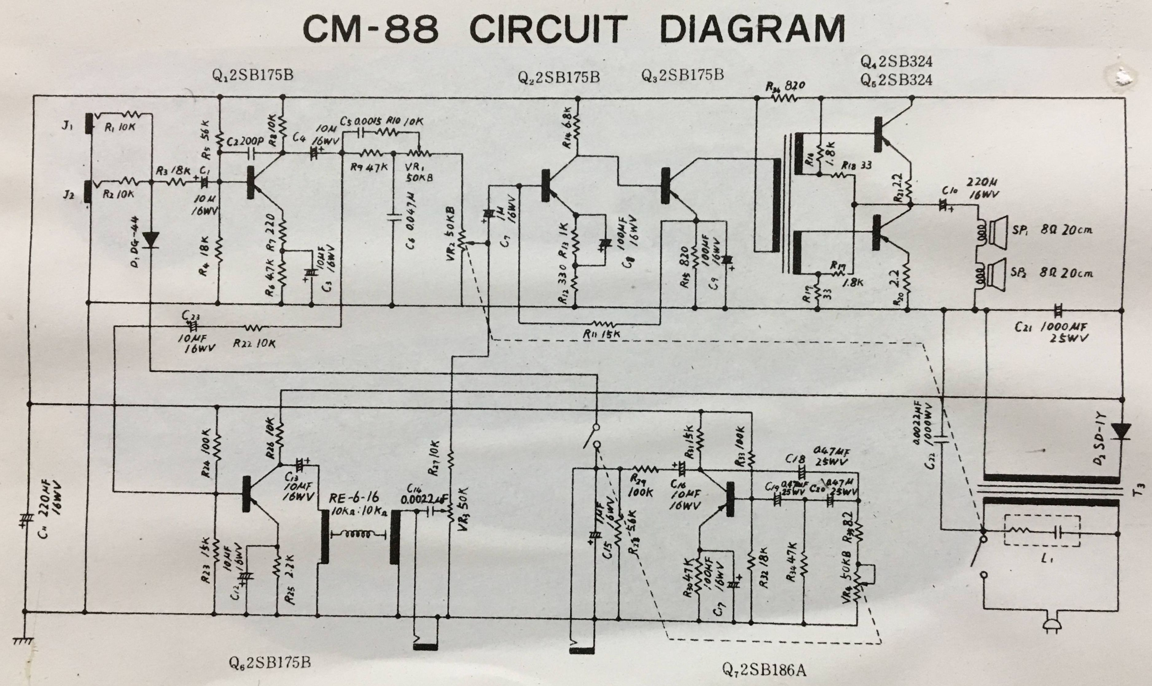 Click image for larger version.  Name:Teisco CM88 Schematic.jpg Views:44 Size:791.3 KB ID:53492